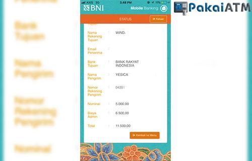Bukti Transfer BNI M Banking dan Internet Banking