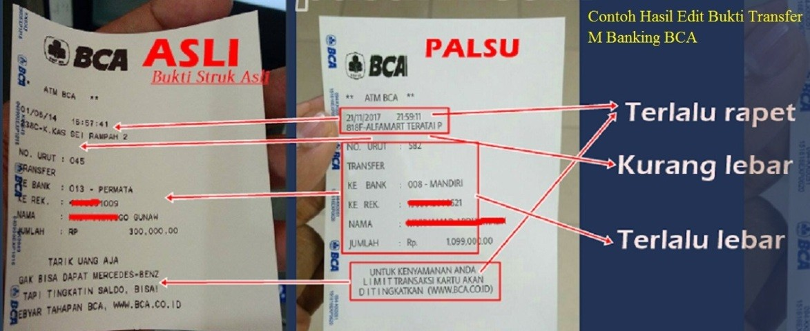 Cara Edit Bukti Transfer M Banking BCA