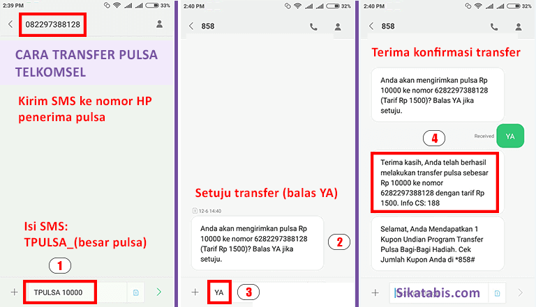 Metode transfer pulsa Telkomsel via SMS